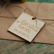 50pcs Personalized Customized Arrow Wooden Wood Gift Wrapping Invitation Card Tags Wedding Party Decorations DIY Favors