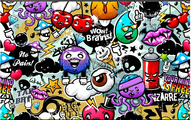 Custom Baby Wallpaper Colorful Graffiti 3d Wallpaper For Kids Room