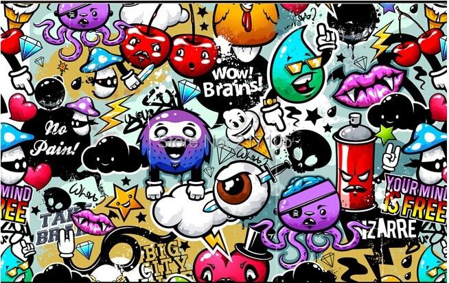 Custom baby wallpaper colorful graffiti 3d wallpaper for kids room
