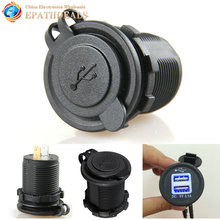 Waterproof Dual USB Motorcycle Car Charger Power Adapter Cigarette Lighter Socket for Mobile Phones GPS Camera