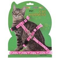Нейлон проводов для Cat аксессуары кошка воротник жгут и поводок Регулируемый кошка тягового привязного ремня котенок питания 4 цвета