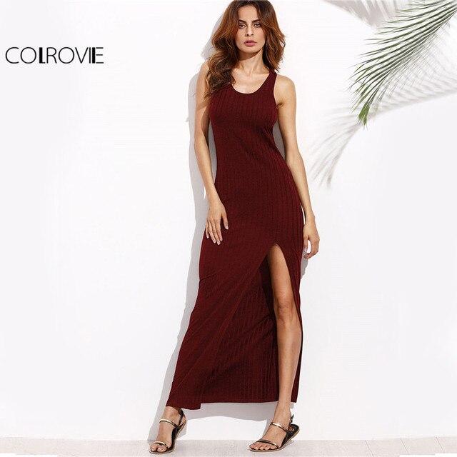 COLROVIE Rib Knit Basic Summer Tank Dress 2017 Burgundy Racerback Women High Slit Maxi Dresses New Sexy Sheath Casual Long Dress