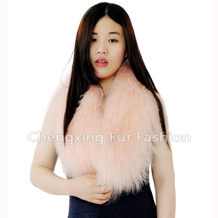Настоящий монгольский овечий меховой воротник настоящий овечий мех шарф шарфы накидка шейный платок меховой шарф - Цвет: pink