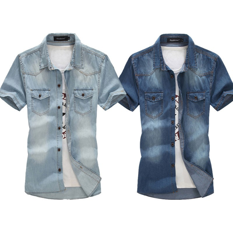 Большие размеры! джинсовые мужские новые мужские джинсовые рубашки для мытья воды мужские топы с коротким рукавом с цветочным принтом, однотонные джинсовые рубашки для мужчин M-6XL