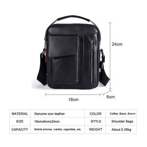 Image 2 - WESTAL mens shoulder bag small flap zipper mens crossbody bags genuine leather bags for men handbag male messenger bags 8211