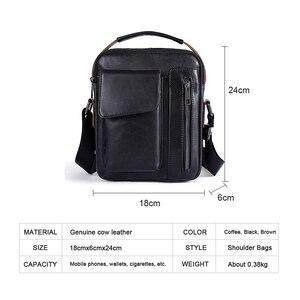 Image 2 - Westal masculino bolsa de ombro pequena aba zíper crossbody sacos de couro genuíno para homens bolsa masculina mensageiro sacos 8211