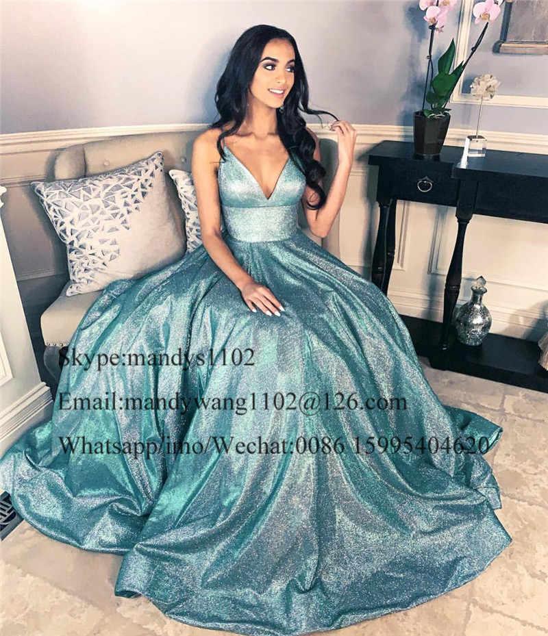 Mbcullyd Lindo Lantejoulas A Linha Prom Vestidos Longos 2019 Sexy V Profundo Sem Encosto Pescoço Vestido de Noite Pageant Formal Vestido Custom Made