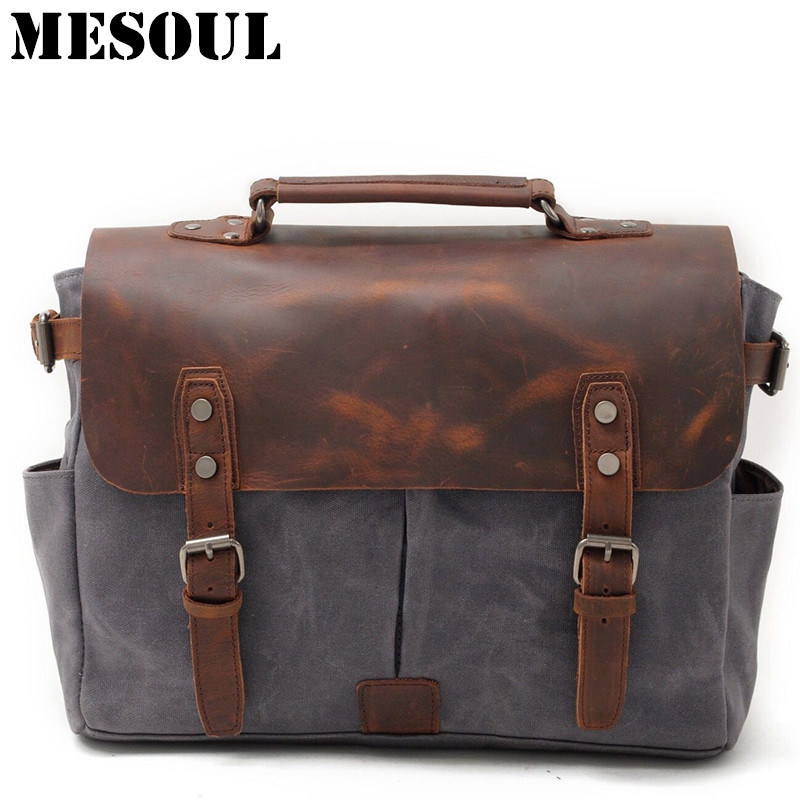 MESOUL Waterproof Business Men Laptop Bag Vintage Messenger Bags High Quality Casual Tote Waterproof Canvas Travel Shoulder Bags aosbos fashion portable insulated canvas lunch bag thermal food picnic lunch bags for women kids men cooler lunch box bag tote