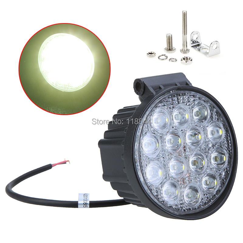 1Pcs 42W 6000K 14 LED Work Light High Power Headlight Fog Spot Lamp For Car Truck Boat Jeep Offroad SUV 19inch 40w 6500k ip67 4000lm car led high power working light headlights for truck outdoor work lamp