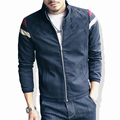 Высокое качество 2016 Новый твердый тонкий мужские куртки и пальто вскользь бомбардировщик куртка мужчины бренд мужской Большой размер куртки мужчины