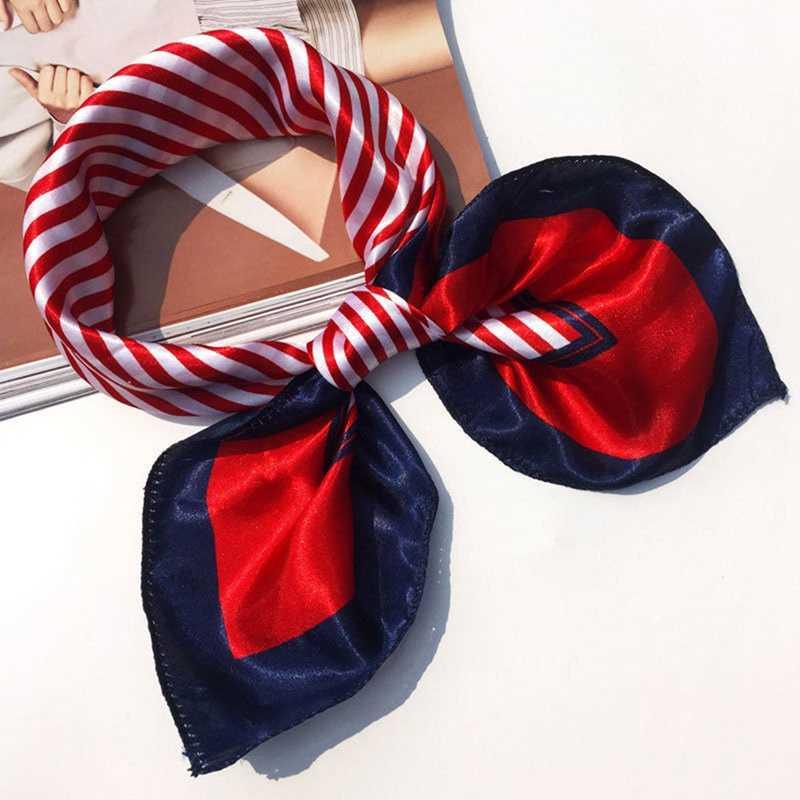 AOMU Frauen Bandanas Multifunktions Polyester Silk Schal Drucke Satin Kleinen Platz Tücher und Schals Foulard Halstuch