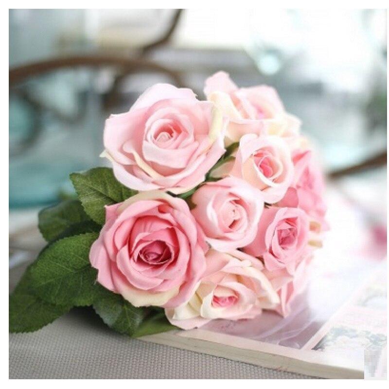 9 unids/set Rosa ramo de flores Tailandés Royal Rose flores artificiales flores
