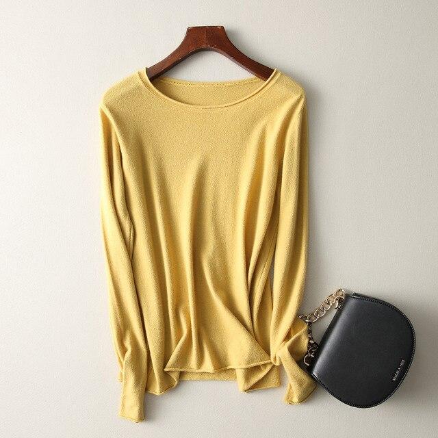 Модный осенне-зимний кашемировый свитер, Женский пуловер, свитер с круглым вырезом, Женский Однотонный женский базовый свитер.