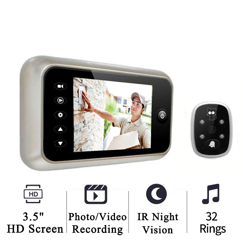 2pcs/lot 3.5 LCD Screen Digital Photo/Video Recording Door Camera Smart Door Bell Viewer IR Night Vision Door Peephole Camera 2 lcd screen cmos hd 720p usb digital binocular telescope 96m 1000m zoom telescopio dvr binoculars photo camera video recording