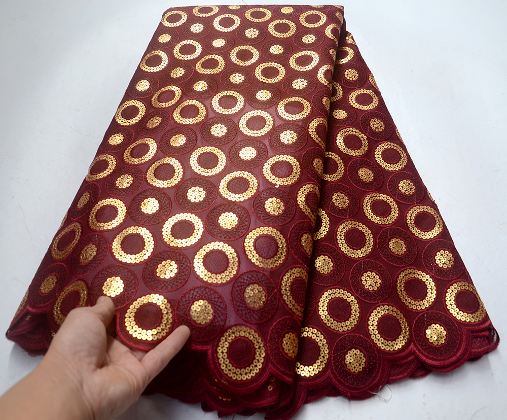 wine red Lace African Lace Fabric 2019 High Quality Lace With paillette Nigerian Guipure Lace Fabric Wedding 5yards French