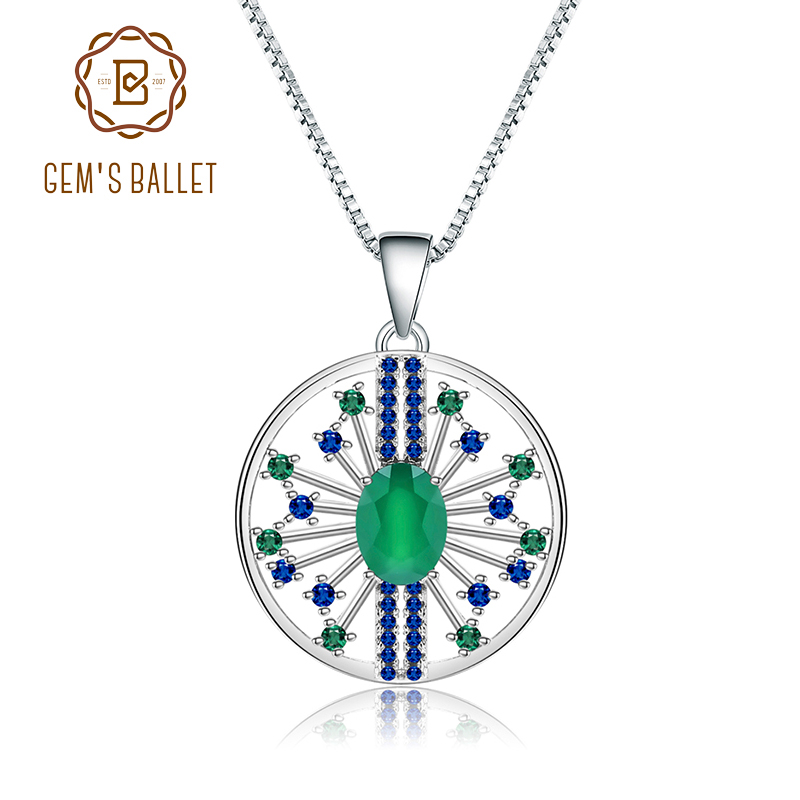 GEM'S BALLET Natural Green Agate Gemstones Fine Jewelry 925 Sterling Silver Vintage Pendant Necklace For Women Wedding
