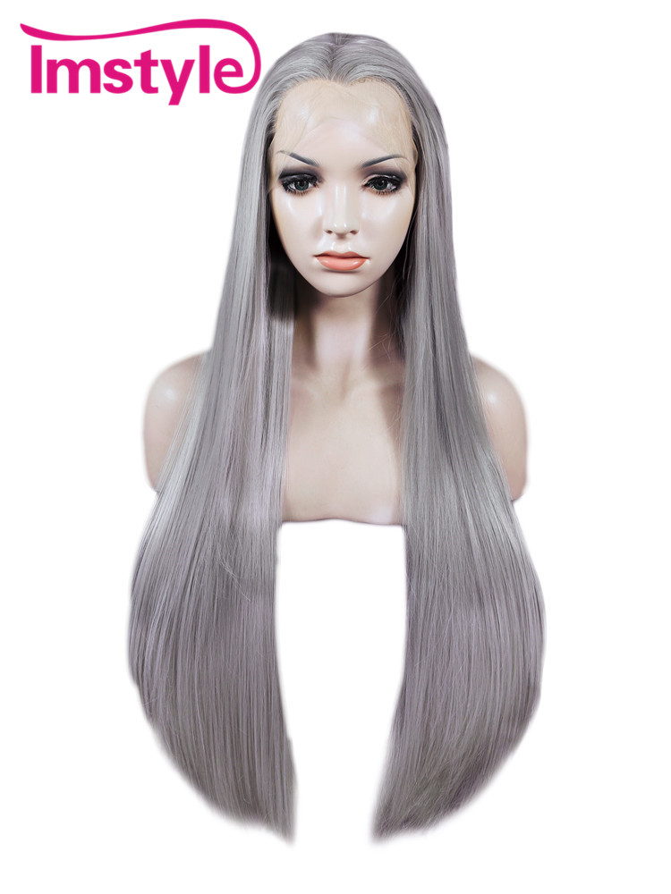 Imstyle Straight Synthetic Gray 30 inches lace front wig