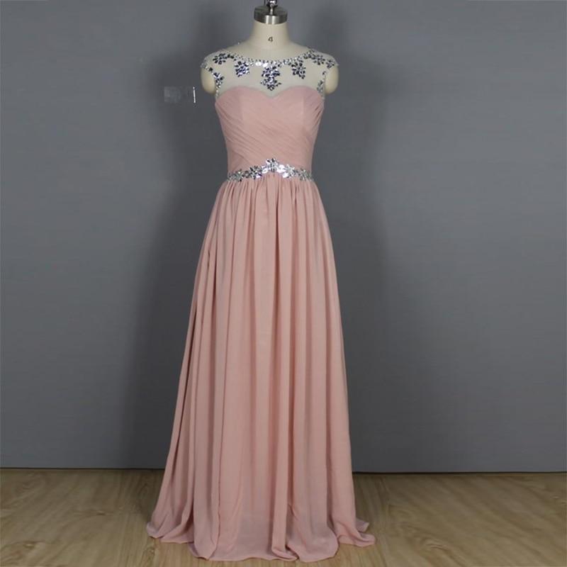 Cuadro verdadero Largas Rosadas de La Gasa Vestidos de Honor Una Línea de Scoop