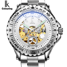 IK Luminous Luxury Brand Gold Black Skeleton Automatic Mechanical Men's watch Stainless Steel Military Watch Casual Gift clock