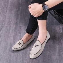 Nya män fest Klänning skor andas mode bröllop avslappnad äkta Läder Male Flats hög kvalitet Ärter lata skor storlek 37-46