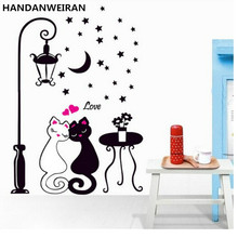 Fashion Cartoon Couple Cat Personalized Wall Stickers Children's Room Bedroom Livingroom Sofa Backdrop Home Decor