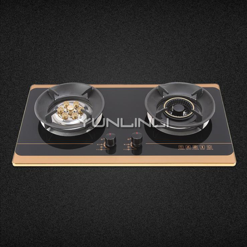 Household Double-burner Gas Stove Tempered Glass Gas Cooker Embedded/Table Type Gas Furnace G630S цены