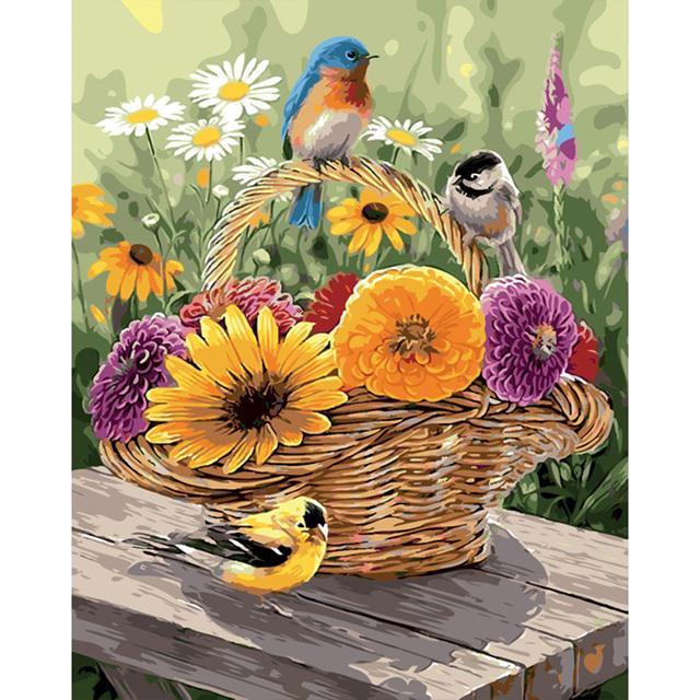 Cute Birds love Flower
