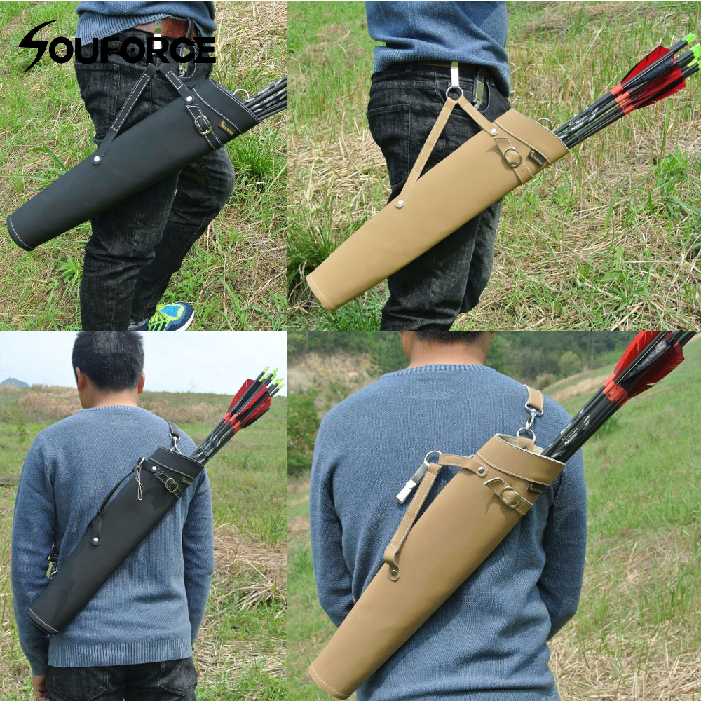 52*13cm Arrow Quiver in Black/Yellow Color Shoulder-back Design Made of Pure Leather for Archery Hunting Shooting outdoor camouflage archery hunting arrow quiver water resistant archery quiver holder caza arrows bow quiver bag with zipper