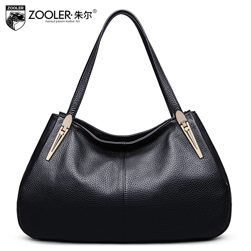 ZOOLER Black Genuine Leather Shoulder Bag High Quality Women Leisure Tote Bags Handbags Women Famous Brands Ladies Messenger Bag new trend 2016 zooler women genuine leather messenger bags vintage crossbody bag bags handbags women famous brands high quality