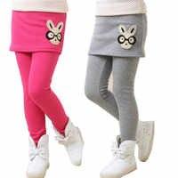 Leggings pour filles pantalons d'hiver enfants pantalons filles leggings d'hiver polaire chaud faux deux pièces culotte enfants jupe divisée