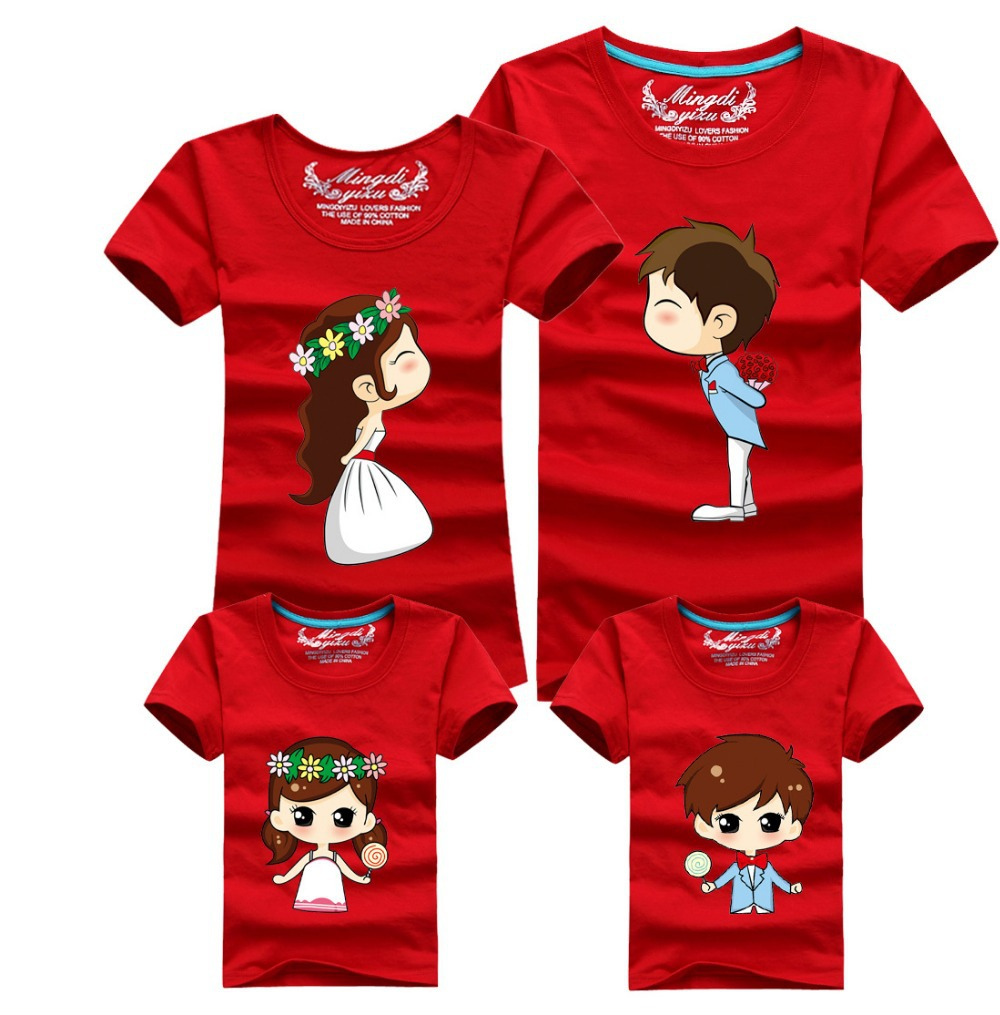 3 pcs / lot 95% Cotton Wedding Cartoon Tee Shirts Red Color Cotton T ...