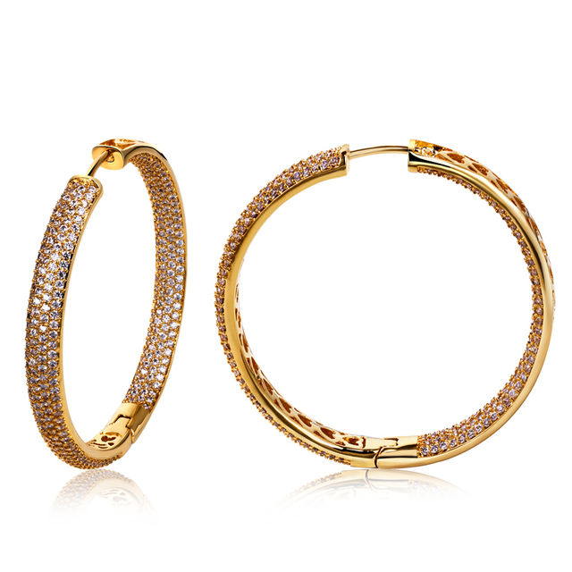 45mm Diameter large circle earrings Europe and America design copper jewelry Micro setting cubic zirconia women hoop earrings