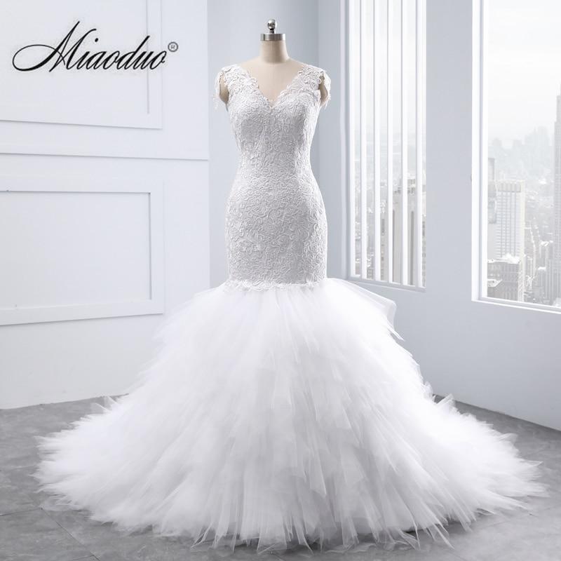 Miaoduo New Wedding Dress 2019 Big Mermaid Wedding Dress Sexy Back Pearls Lace Appliques Bridal Gown Vestido De Noiva