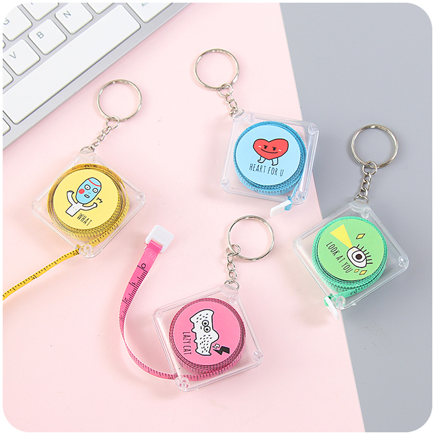 150cm Lovely Cartoon Retractable Tape Measure With Transparent Storage Box And Keychain Soft Tape Measure For Tailor Sewing Tool