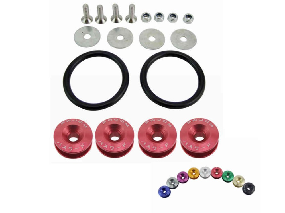 Racing JDM Quick Release Fasteners are ideal for front bumpers rear bumpers and trunk / hatch lids ...
