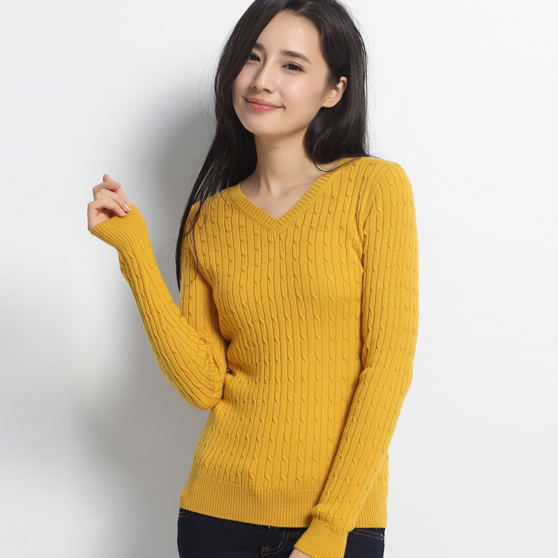 Aliexpress.com : Buy Worsted 2015 Women's V Neck Cable Knit ...