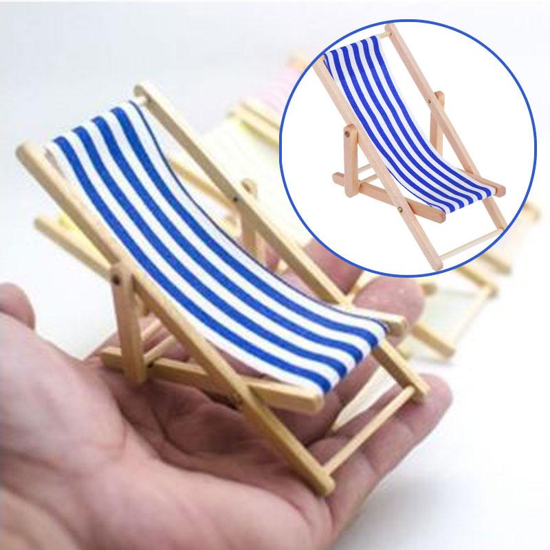 3pcs Striped Garden Folding Lounge Chair 1//12 Dollhouse Miniature Furniture