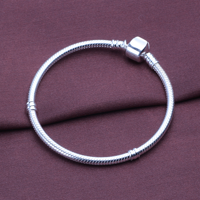 ae6800d40 AIFEILI Dropship Authentic Silver Plated Snake Chain DIY Charm Bracelet &  Bangle DIY For Women Bracelet Jewelry Gift