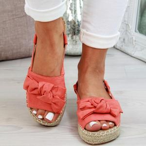 Image 5 - Big Size Women Sandals Espadrille Summer Flat Women Slippers With Platform Fashion Shoes Women With Buckle Buckle Peep L10