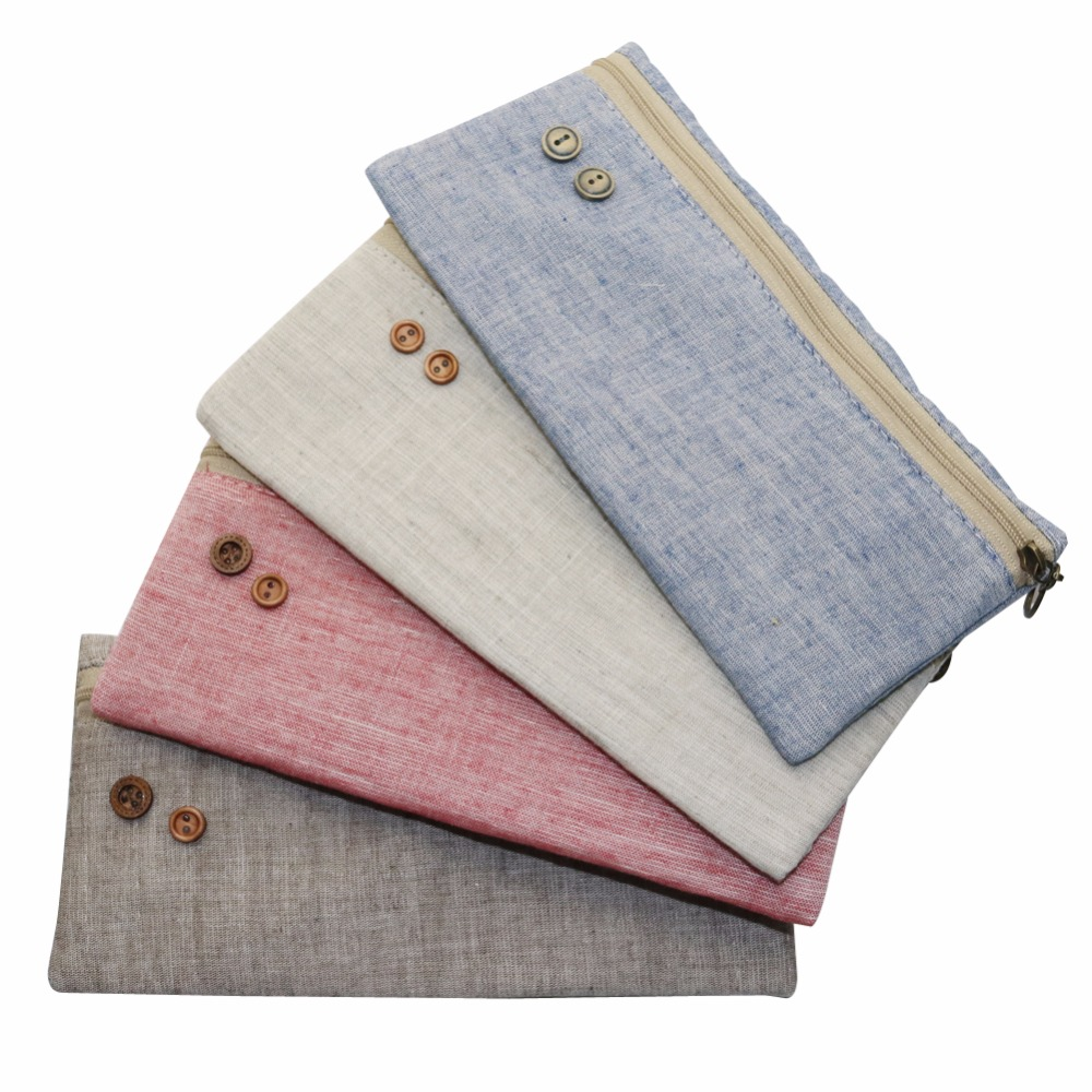 Pure Color Retro Linen Pencil Bag Students 4 Optional Pencil Cases Stationery Material Escolar Office Supplies