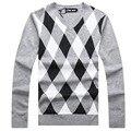 De Cuello V Nuevo Otoño invierno Marca ropa de Hombre de Manga Larga Suéteres suéteres Que Hacen Punto Gruesa Caliente Casual Hombre Diseñador de Prendas de punto