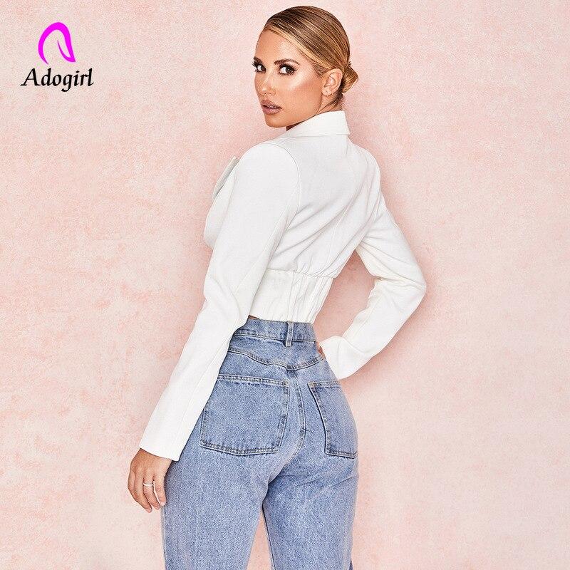 White Women Blazer Highstreet Office Lady Deep V Solid Elegant Slim Blazer 2019 Autumn Workwear Women Crop Cardigan Blazer Femme