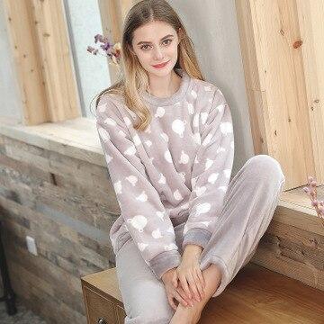Daeyard Flannel   Pajamas     Sets   Women Autumn Winter Coral Fleece Shirt And Trousers Sleepwear   Pajamas   Cute Cartoon Pyjamas Homewear
