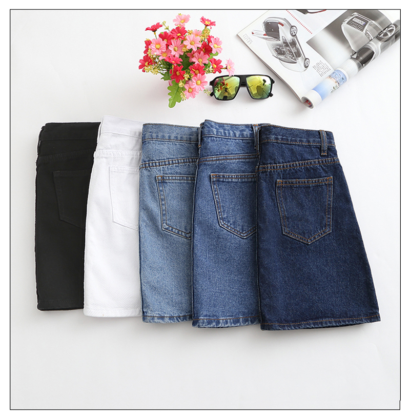 Lucyever Fashion Korean Summer Women Denim Skirt High Waist Black Mini Skirts Package Hip Blue Jeans Harajuku Plus Size Cotton 36