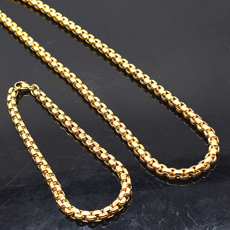 AMUMIU Promotion ! 3mm Width 316L Stainless Steel For Women Men Fashion Chains Necklace Bracelet Jewelry Sets HZTZ132