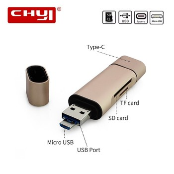 CHYI Mini Usb 3.0 Card Reader Type C Smart Cardreader Multi In One Micro OTG Portable Laptop Accessories For Smartphone Computer