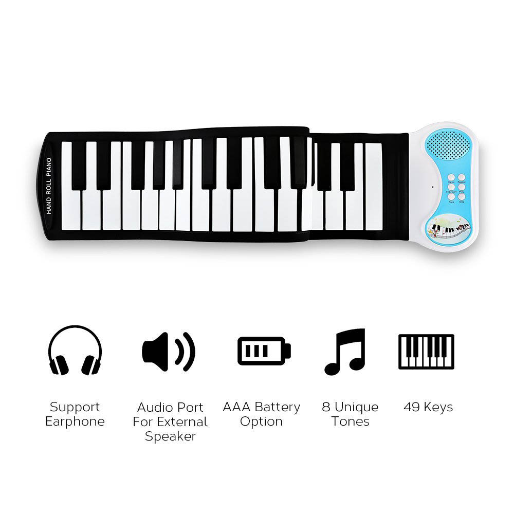 Portable 49 Keys Flexible Roll Up Piano Electronic Digital Soft Keyboard Exercise Piano Toys for Children Kid Learning Gift
