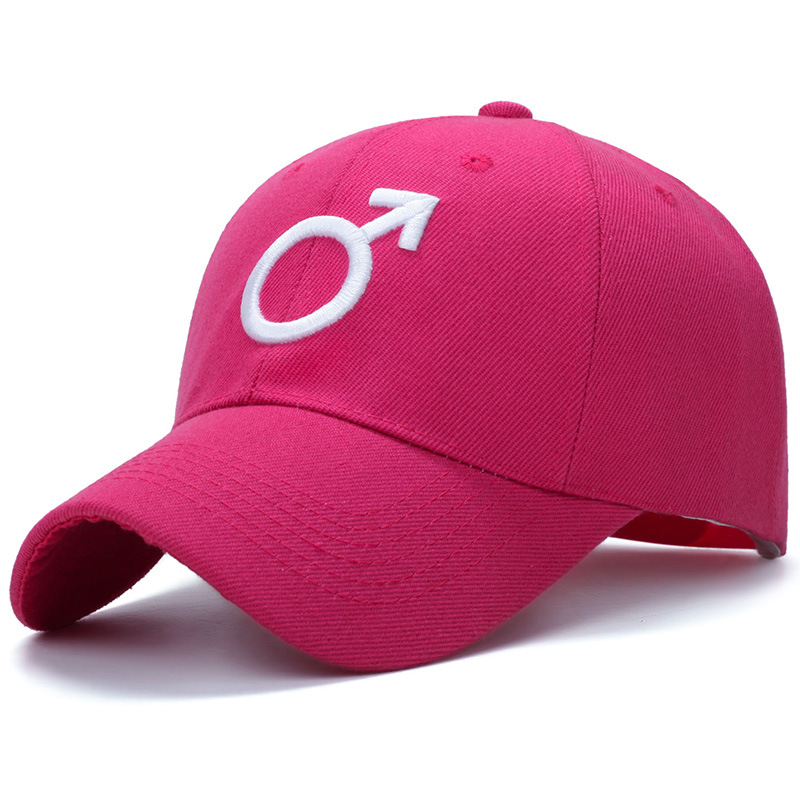 Embroidered Male Symbol Baseball Cap - Pink