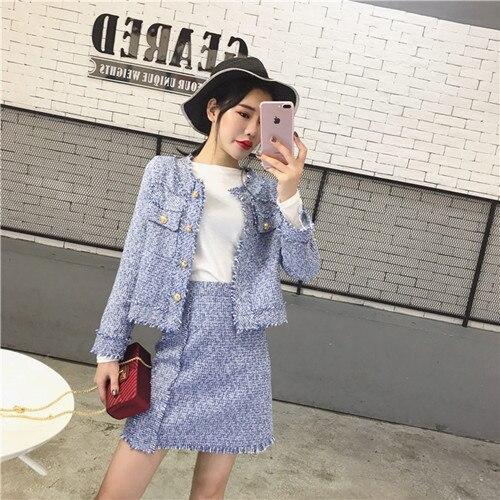 HAMALIEL Высокое качество для женщин комплект из 2 предметов осень зима красный твид кисточкой однобортный пиджак пальто+ бахрома линия юбка костюмы - Цвет: Синий