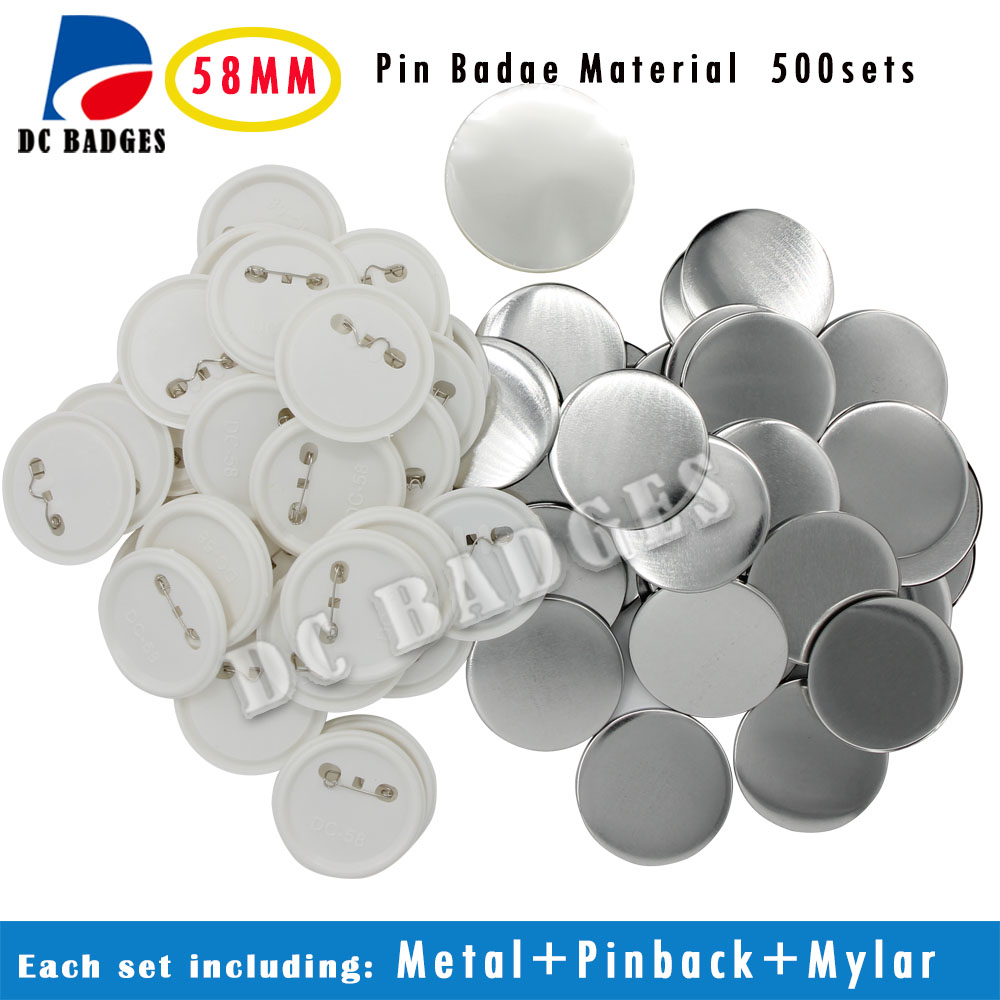 Free Shipping 2 1 4 58mm 500sets Plastic Pin Badge Material Blank button parts Tin badge